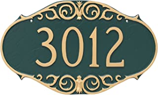 "product image for Montague Metal Victorian Address Sign Plaque, 9.5"" x 16"", Hunter Green/Gold"