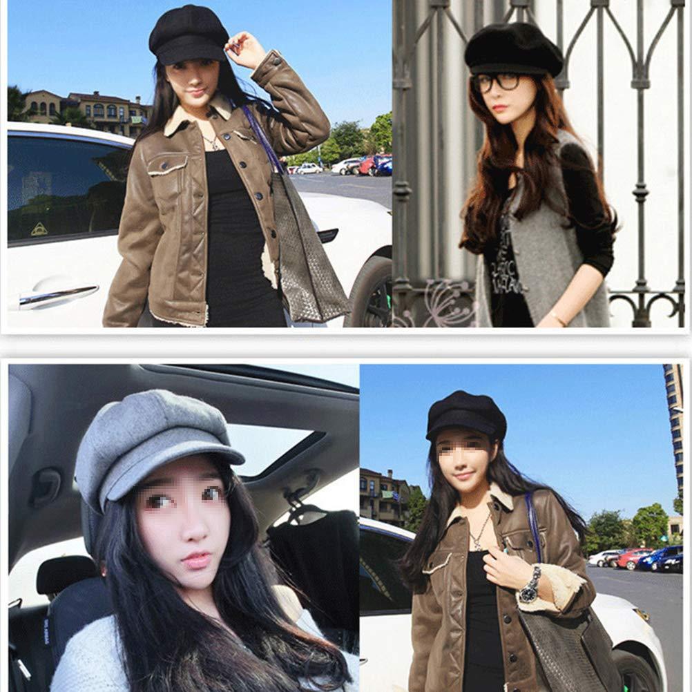 FENICAL Beret Woolen Casual Vintage Visor Cap Felt Cloche Hat for Ladies Girls Gray