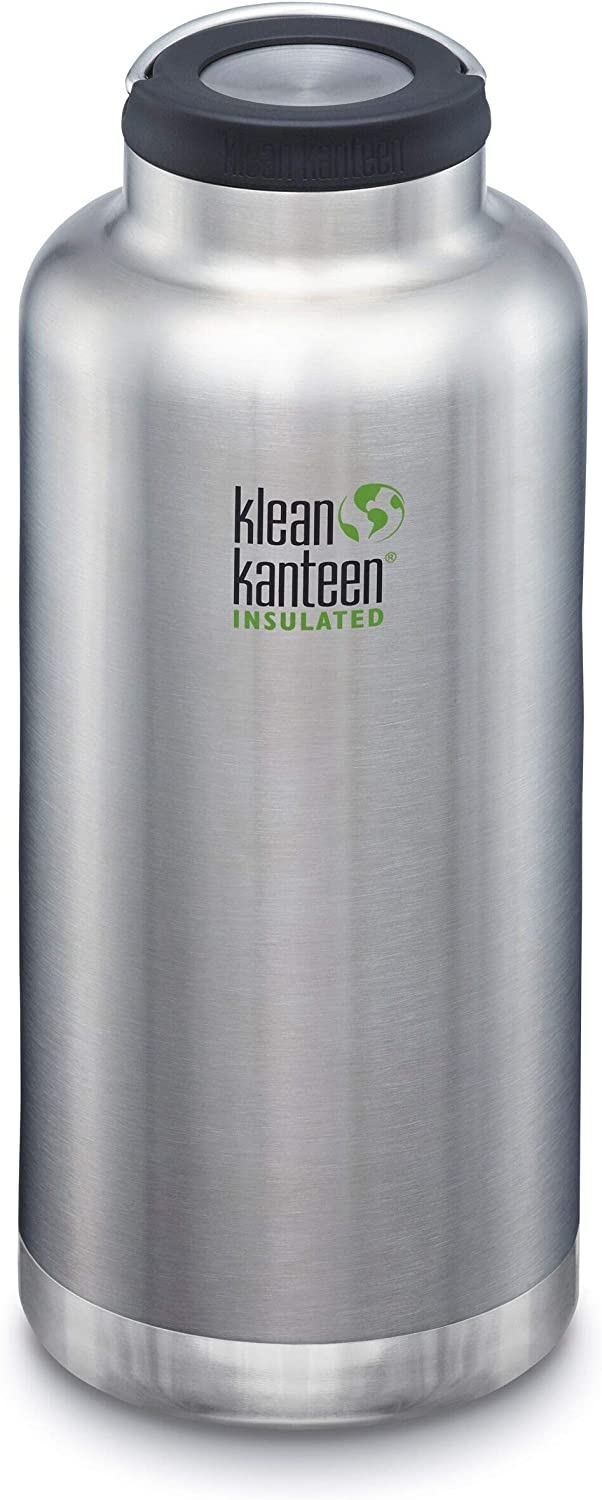 Klean Kanteen TKWide Stainless Steel Double Wall Insulated Water Bottle with Insulated Wide Loop Cap, 64-Ounce, Brushed Stainless