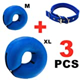 Dog Cone Collar, 3 Pack Adjustable and Inflatable Protective Collar for Dogs and Cats - Soft Dog and Cat Recovery Cone Collar Anti-Bite Lick Wound Healing, Does Not Block Vision and Easy for Dogs