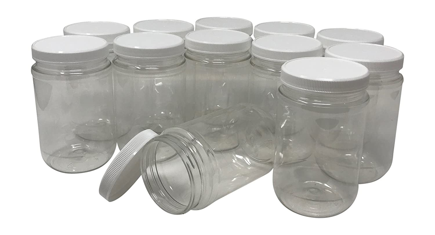 efd136d87209 CSBD 16 Oz Clear Plastic Mason Jars With Ribbed Liner Screw On Lids, Wide  Mouth, ECO, BPA Free, PET Plastic, Made In USA, Bulk Storage Containers, 12  ...
