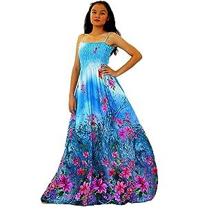2a24672657fa Maxi Dress Women Plus Size Tall Full Length Hawaiian Summer Cocktail Extra  Long Sexy Blue Floral