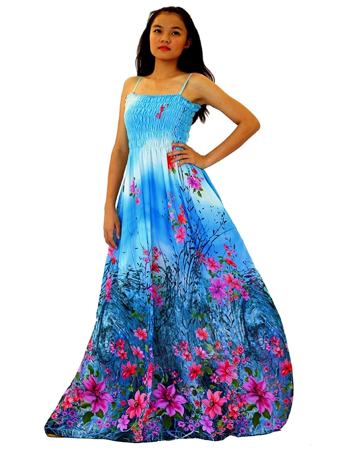 9375935fcab50 Maxi Dress Women Plus Size Tall Full Length Hawaiian Summer Cocktail Extra  Long Sexy Blue Floral at Amazon Women's Clothing store: