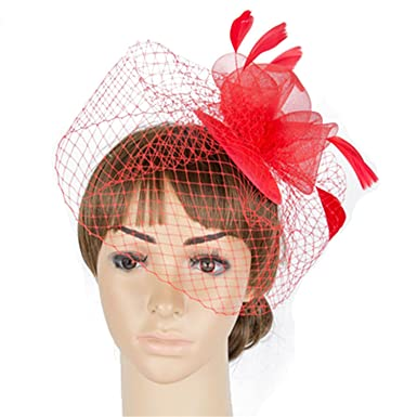 a1cd236ac23 Chiced Veil and Feather Fascinator Hats 3 Pieces Roses with Feather  Decoration Ladies Cocktail Hat -