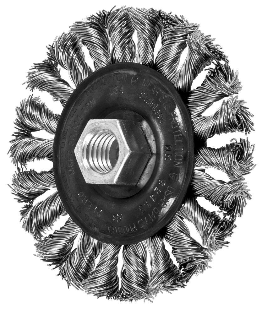 PFERD 82413 Standard Twist Knot Wheel Wire Brush, Stainless Steel (INOX), 4'' Diameter, 5/8-11'' Thread Size.020 Wire Diameter, 20000 RPM (Pack of 10)