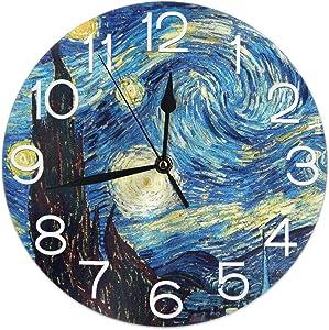 Home Decor Van Gogh Starry Sky Round Wall Clock Acrylic Silent Non Ticking Decorative Clocks