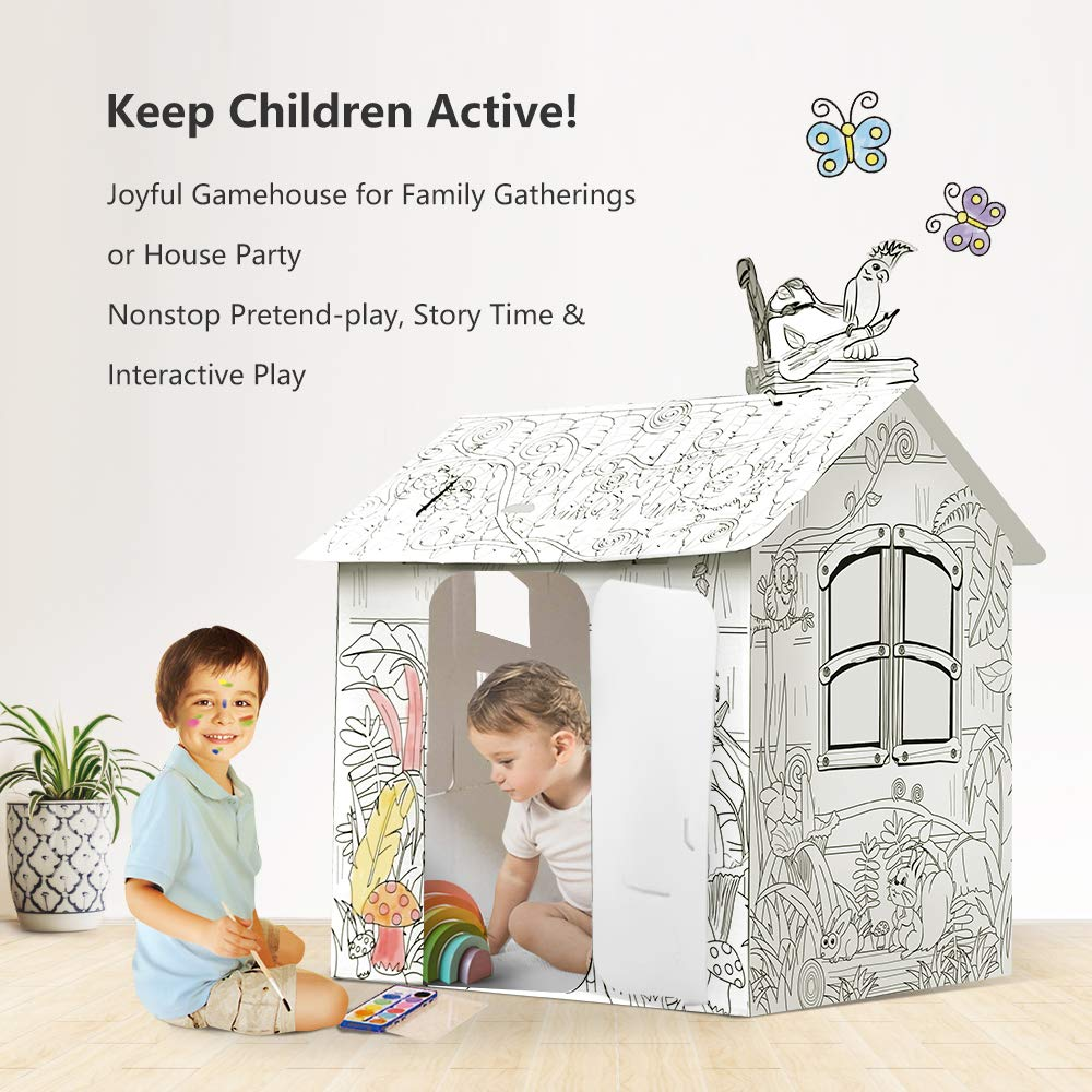 JOYOOC Cardboard Playhouse, Children DIY Color Playhouse Role Playing Game Cottage Playhouse Indoor Pretend Play Paper House with Included 12 Makers & Sturdy Construction, 42.9'' H x 31.1'' W x 24.8'' L by JOYOOC (Image #3)