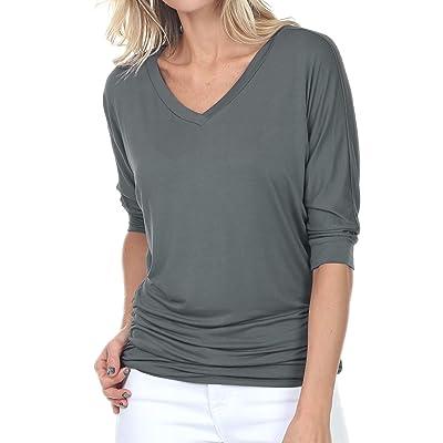 iliad USA Womens V-Neck/Boat Neck 3/4 Dolman Sleeve Side Shirring Drape Basic Top Regular & Plus Size at Women's Clothing store