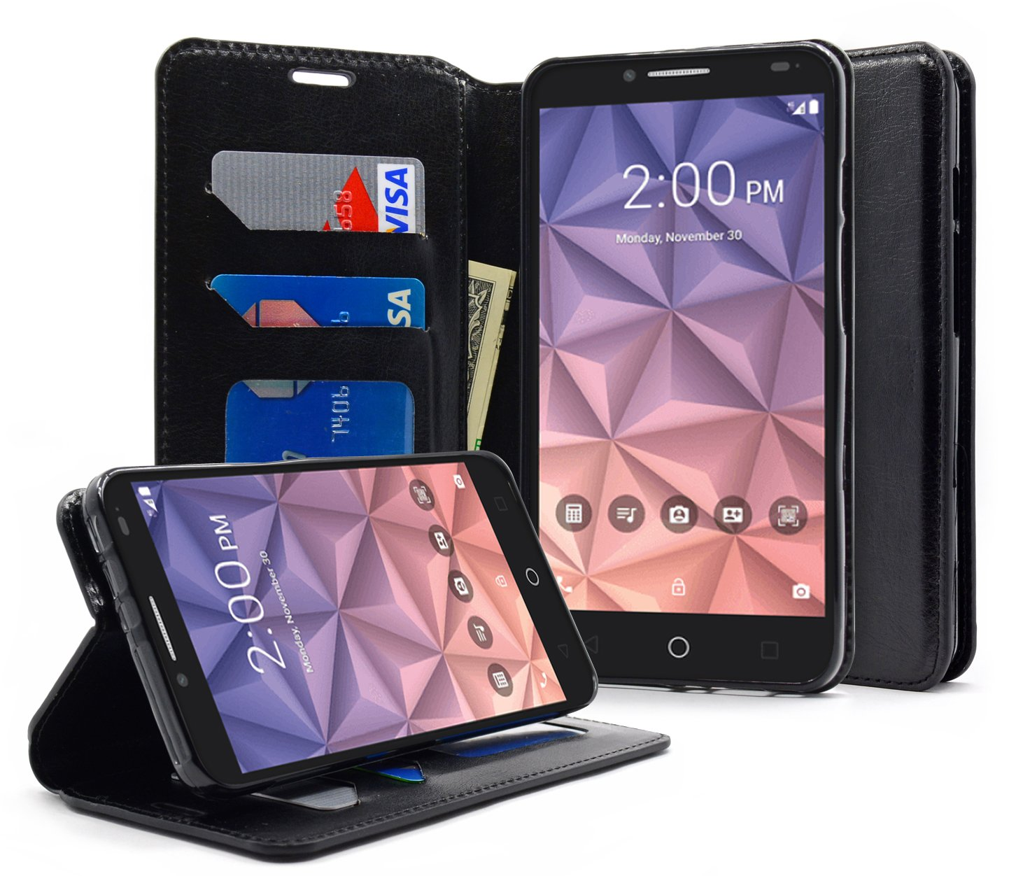 online retailer dcbf9 06c78 Alcatel OneTouch Flint Case, Alcatel Pixi Glory 4G LTE Case, Alcatel Fierce  XL Case,NageBee [Kickstand Feature] Premium PU Leather Flip Fold Wallet ...