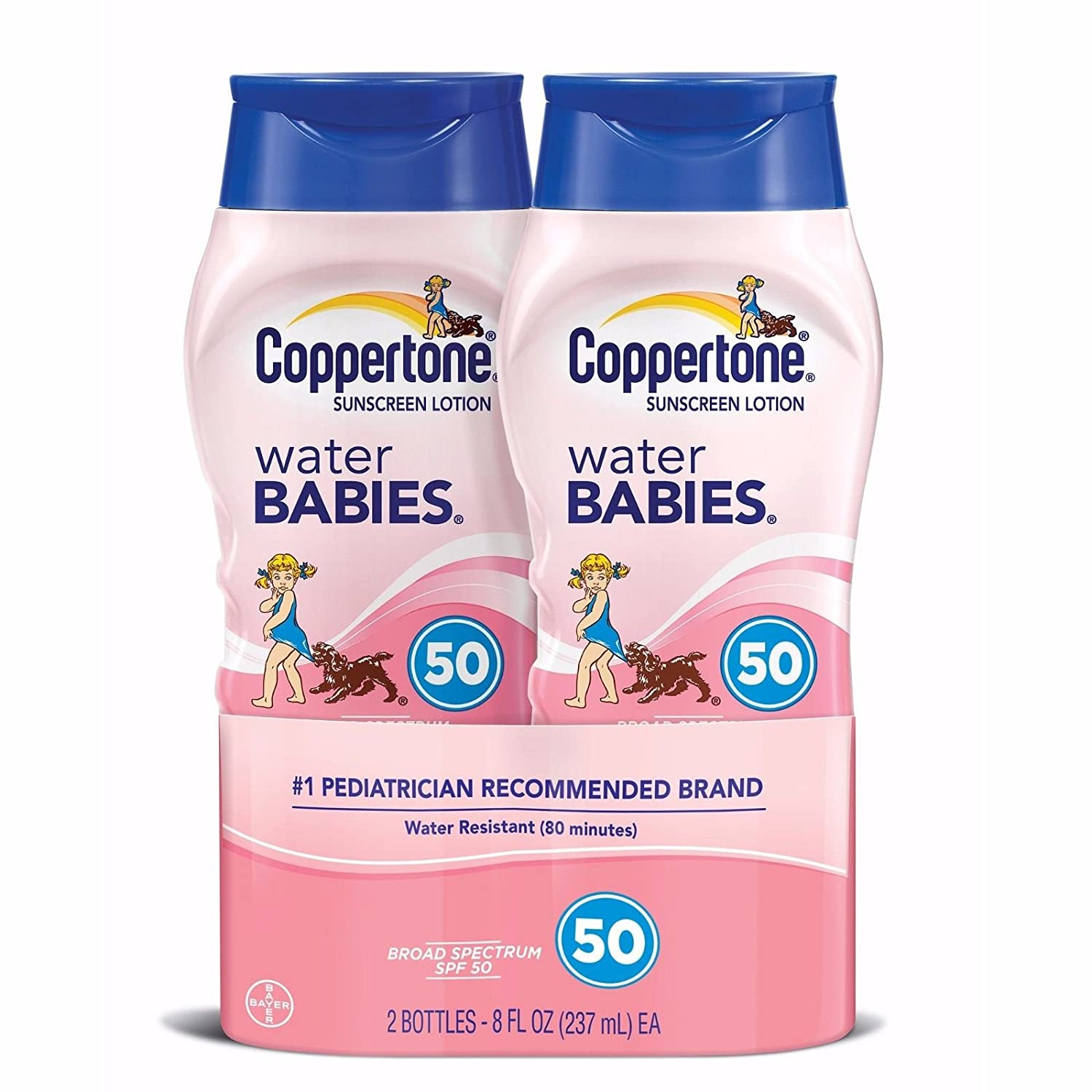 Coppertone Water Babies Sunscreen Lotion, SPF 50, 8 oz. (Pack of 2)