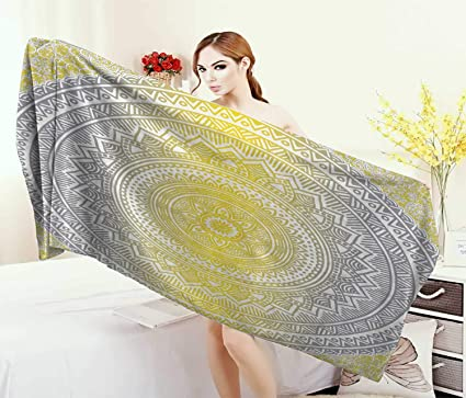 Surprising Amazon Com Anniutwo Grey Yellow Bath Towel Soft Pastel Complete Home Design Collection Barbaintelli Responsecom