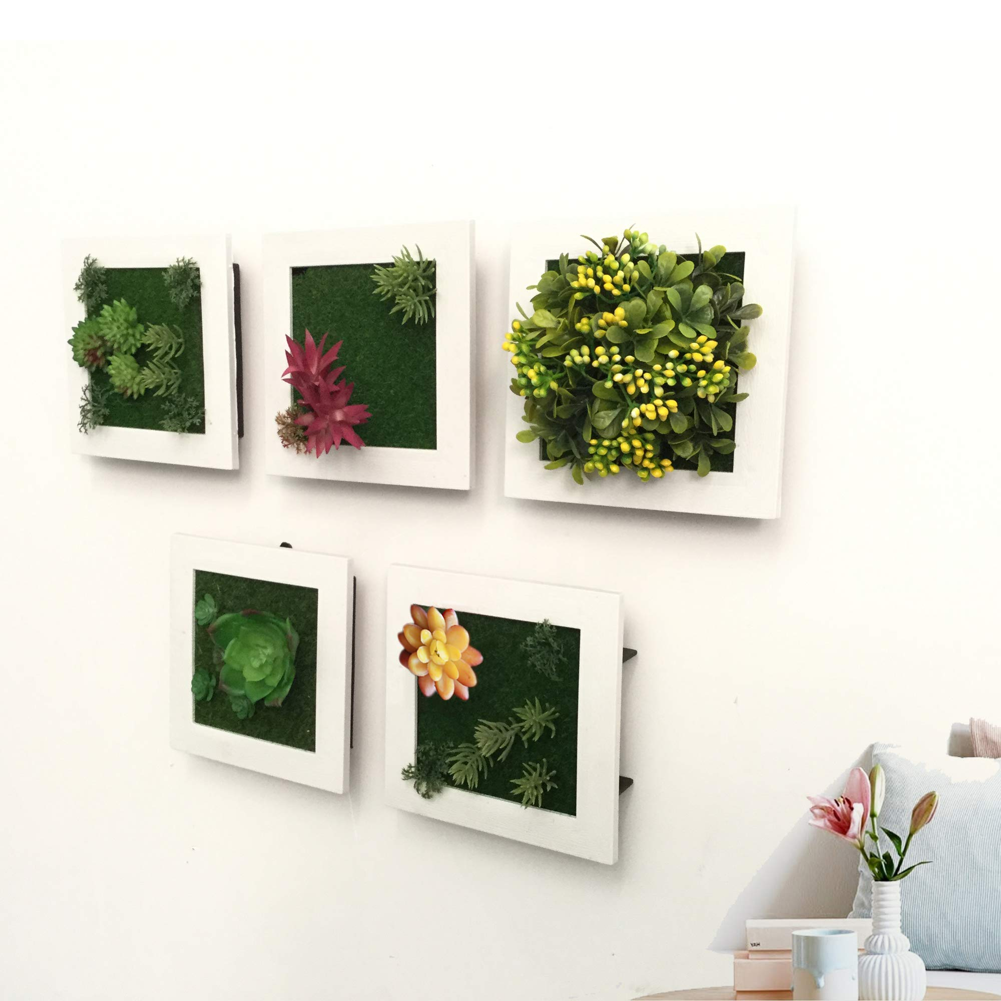 Artificial Plant Frame Wall Hanging for Indoor Wall Decor Tabletop 3D Faux Succulents for Home/Living Room/Bedroom/Cafe Decorative, Set of 5