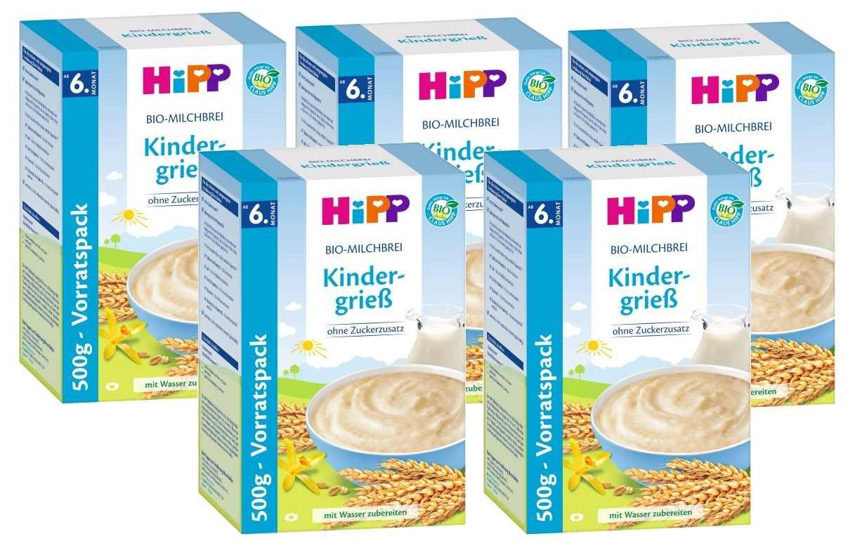 Hipp leche de avena orgánica infantil de sémola, 5-pack (5 x 500 g): Amazon.es: Alimentación y bebidas