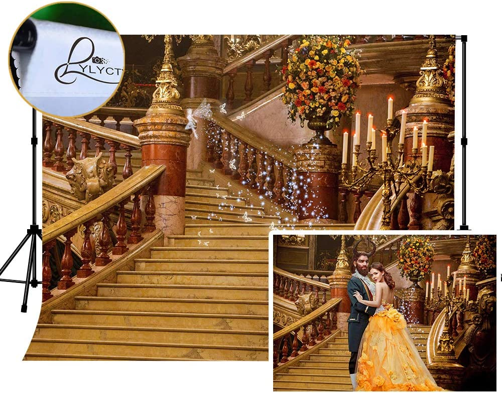 LYLYCTY 7x5ft Backgdrop for Photography European Vintage Staircase Background for Movie Theme Birthday Party Photo Booth Props MLYZY54