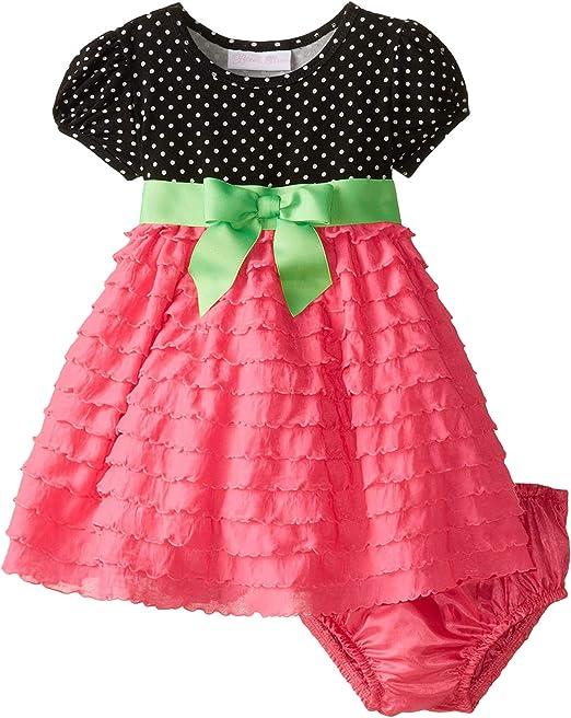 Bonnie Baby Baby-Girls Newborn Dress with Eyelash Skirt 18 Months, Pink