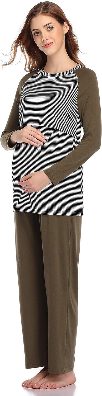 Aranmei Womens Nursing Striped Tops Layered Long Sleeve Breastfeeding Pyjamas Sleepwear Set for Hospital Delivery//Pregnancy//Maternity