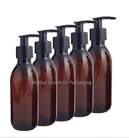 Pack de 5 x 200 ml ámbar Pet botella de plástico vacía con negro bomba de