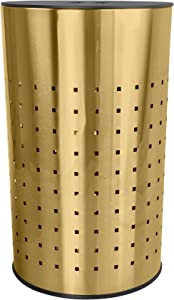 Brushed Gold Laundry Bin & Hamper | 50L Ventilated Stainless Steel Clothes Basket with MDF Lid | Life Time Warranty|