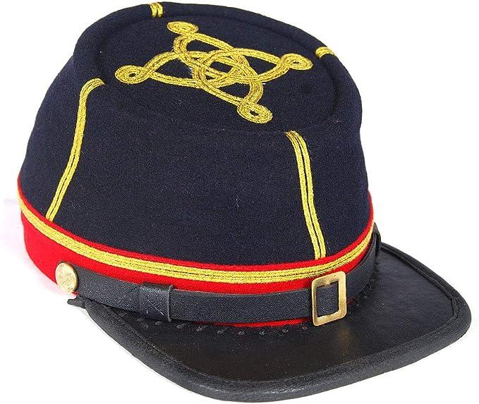 Civil War Artillery Generals 4 Rows leather peak kepi with Black Band