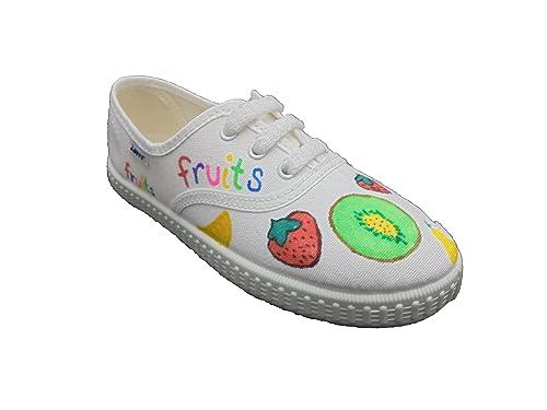 Zapatillas de Lona para Niños y Niñas, Fruits Mod.60, Pintadas a Mano