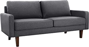 VASAGLE Comfortable Sofa, Couch with Solid Wood Frame and Breathable Linen Fabric, for Guest Room, Teenager's Room, and Small Apartment, 70.1 x 33.3 x 32.7 Inches, Gray