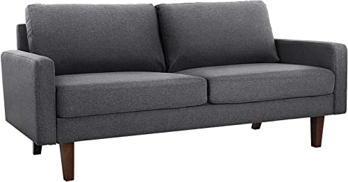 VASAGLE Comfortable Sofa, Couch with Solid Wood Frame and Breathable Linen Fabric, for Guest Room, Teenager s Room, and Small Apartment, 70.1 x 33.3 x 32.7 Inches, Gray