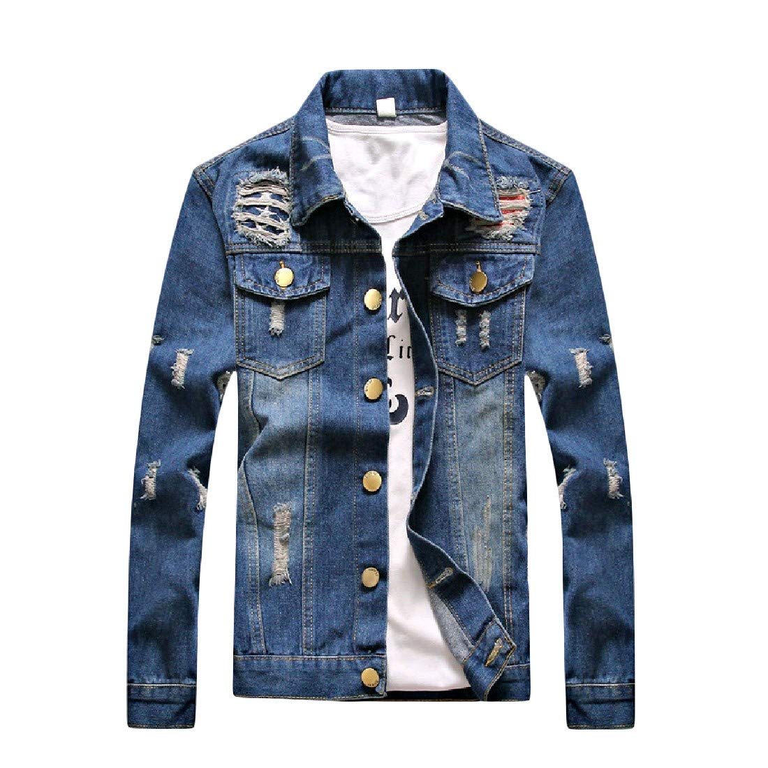 Abetteric Mens Casual Casual Plus Size Wash Denim Trench Coat Jacket