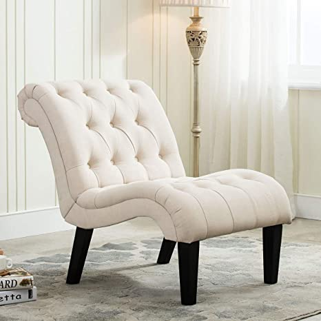 YongQiang Living Room Chairs Upholstered Tufted Bedroom Accent Chair Curved  Backrest Lounge Chair with Wood Legs Cream Fabric