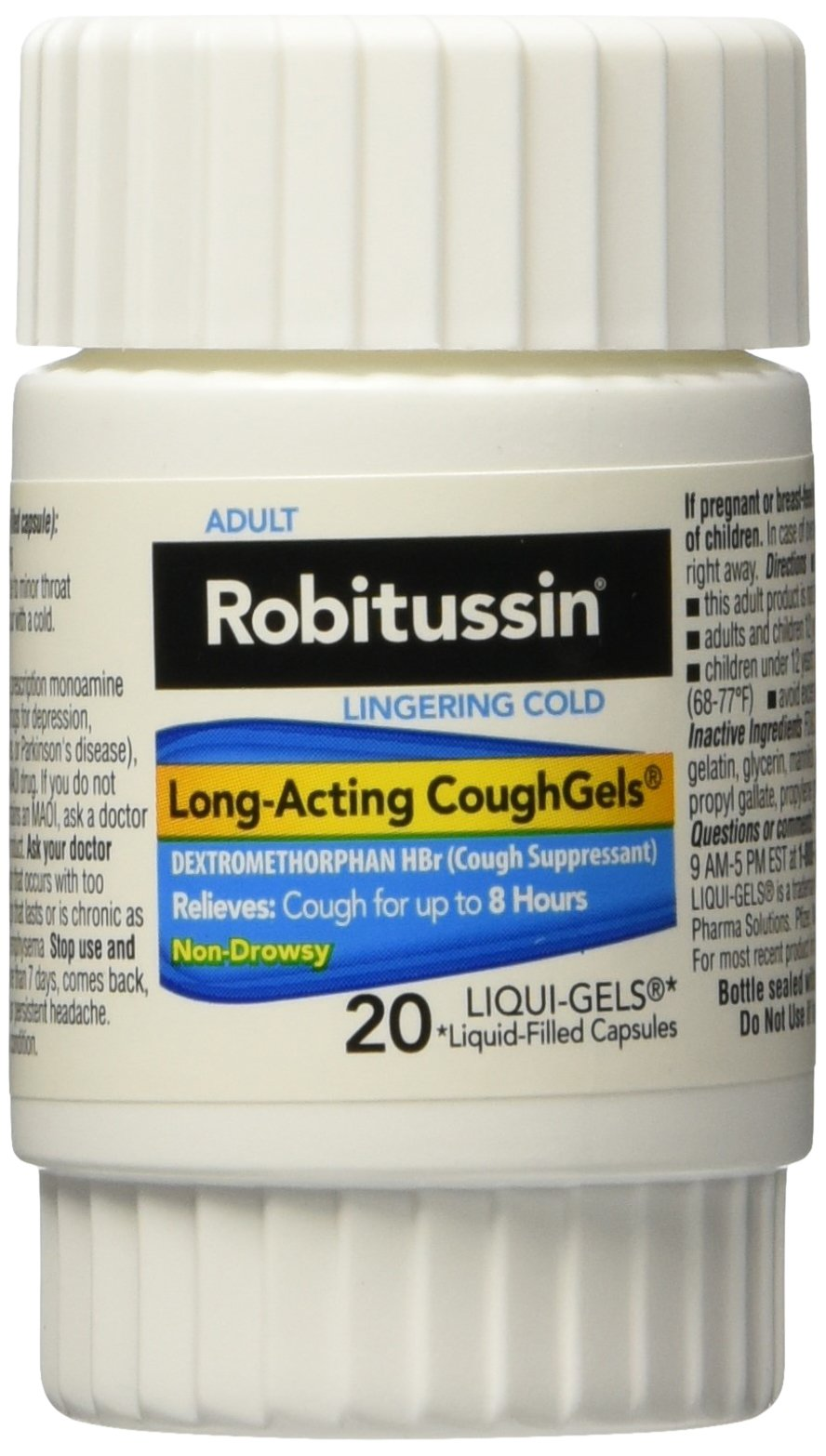Robitussin Adult Lingering Cold Long Acting Cold Gels, 20 Liqui - Gels (Pack of 4) by Robitussin