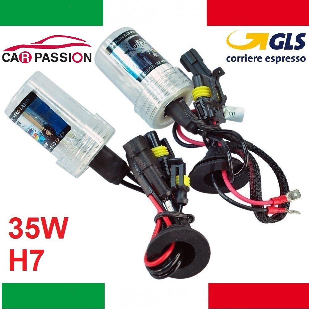 Coppia lampade bulbi kit XENO xenon H7 35w 5000k 12v lampadina luce HID ricambio fari CAR PASSION