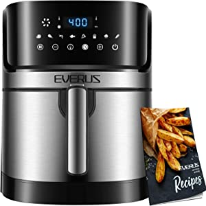 Air Fryer EVERUS 1700-Watts Hot Air Fryer Oven XL 5.8QT, Stainless Steel Electric Air Fryer Oilless Cooker with 8 Presets, Nonstick Square Basket, 100 Free Recipes Book Included
