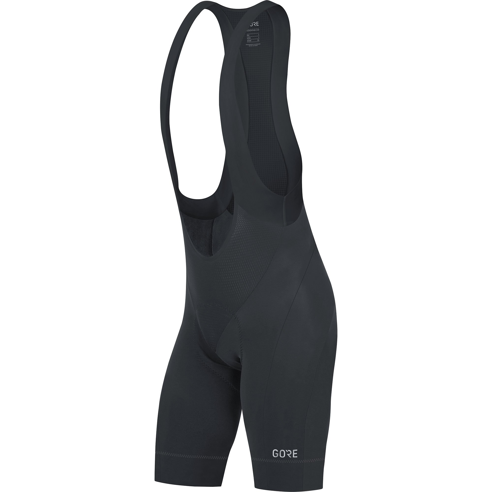 GORE Wear Men's Breathable Road Bike Bib Shorts, With Seat Insert, GORE Wear C5 Bib Shorts +, Size: S, Color: Black, 100192
