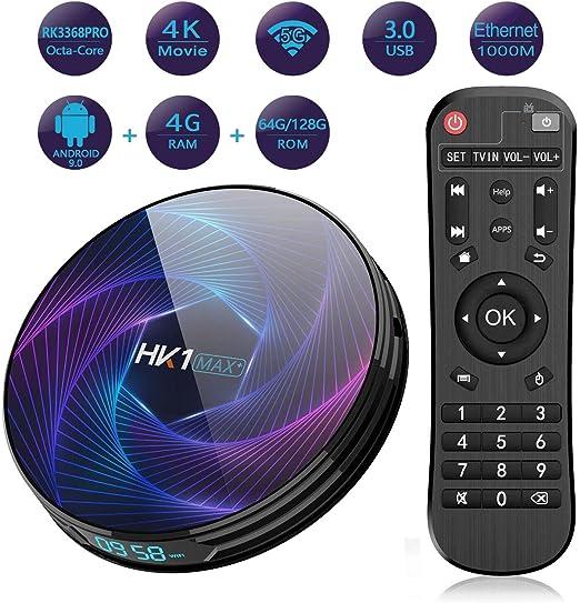 Android 9.0 TV Box 4 GB / 64 GB RK3318 Amlogic S905X2 Quad-Core de 64 bits de 2,4 GHz / 5.0 GHz WiFi BT 4.0 HDMI 4K 3D Smart TV Box: Amazon.es: Hogar