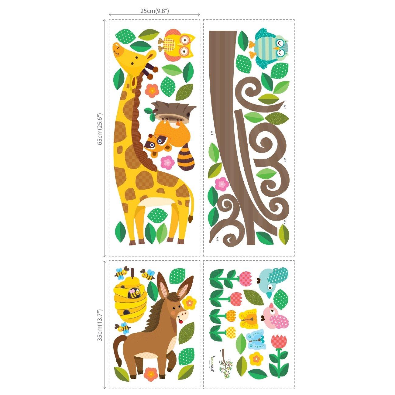 DECOWALL DW-1512N Ramas de Tronco y Animales Vinilo Pegatinas Decorativas Adhesiva Pared Dormitorio Sal/ón Guarder/ía Habitaci/ón Infantiles Ni/ños Beb/és