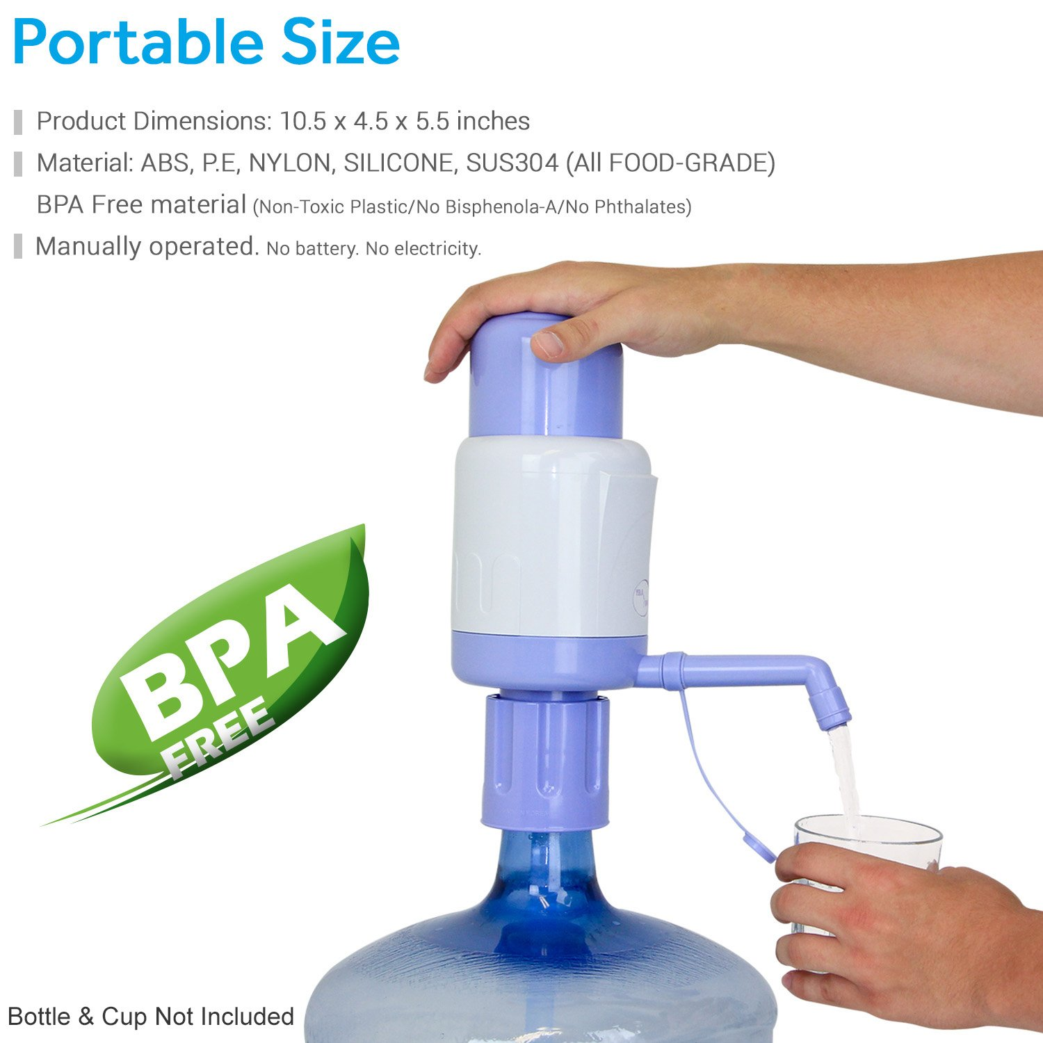 TERA PUMP Manual Drinking Water Pump, FITS Any Bottle (Except Glass Bottles) - BPA Free