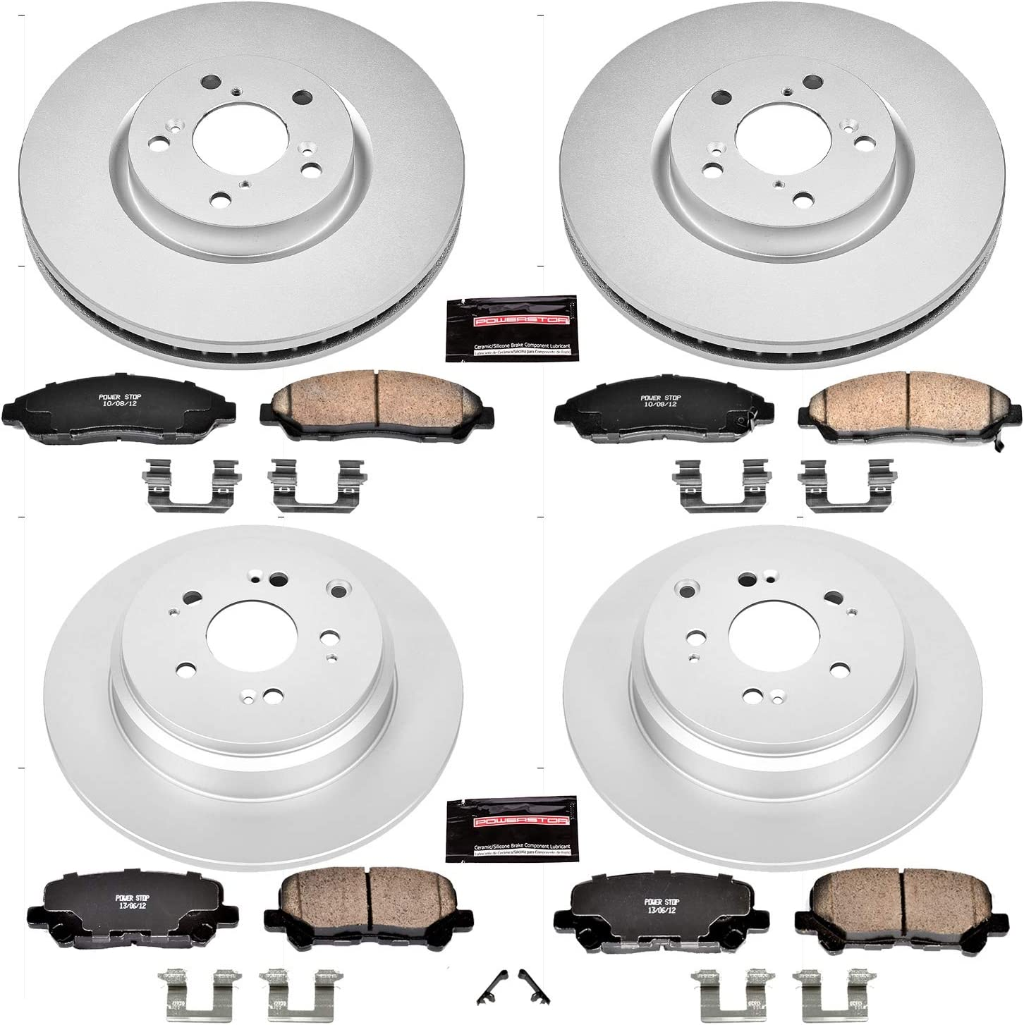 Power Stop CRK684 Coated Rotor and Ceramic Brake Pads-Rear