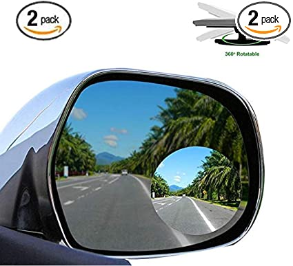 2Pcs Car Rearview Blind Spot Wide Angle Adjustable Side Rear View Convex Mirror