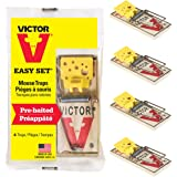 Victor Easy Set Mouse Trap 4 Pack M033 - Wooden Easy Set Mouse Trap - Prebaited
