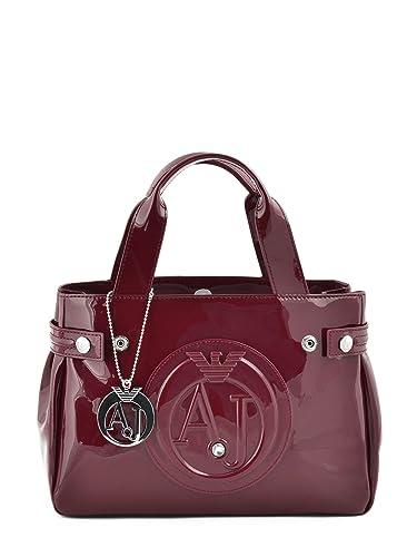 Armani Jeans 0523555 Burgundy PVC Women s Shoulder Bag Burgundy Patent 2e8b267453948