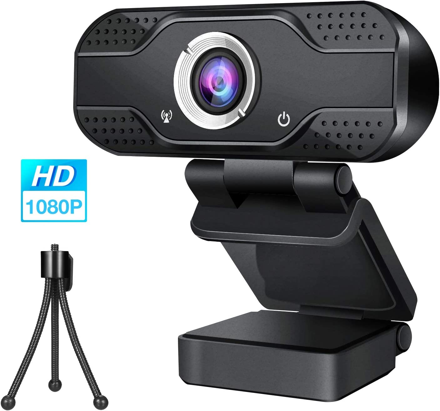 Webcam with Microphone,1080P HD Web Cam with Extra Tripod,USB PC Web Camera for Desktop/Laptop/Mac,Plug and Play,100-Degree Wide View Angle 30fps,Auto Focus Streaming Computer Camera for Video Calling