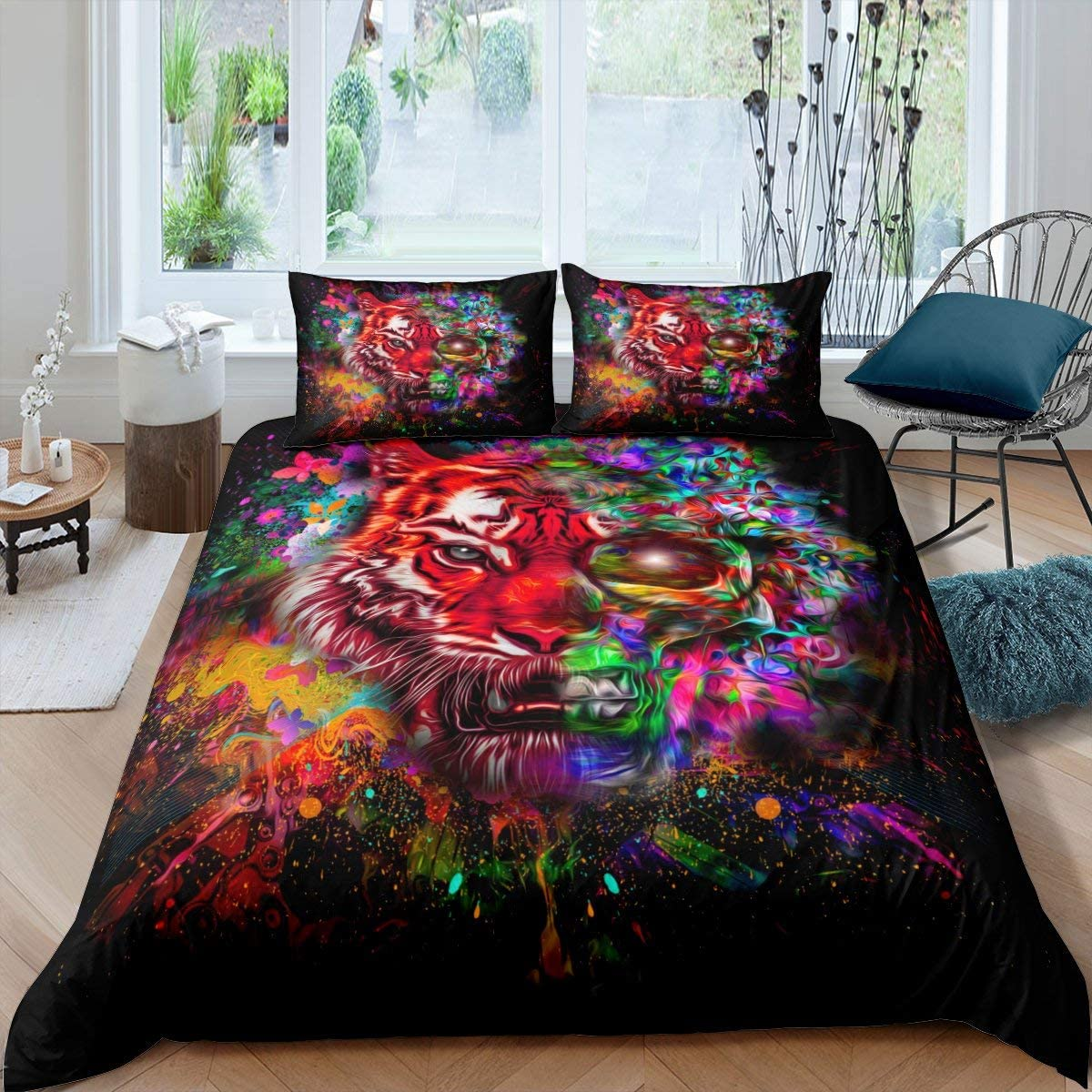 Erosebridal Tiger Comforter Cover, Trippy Iridescent African Wild Feline Carnivorous Animal Grunge Tie Dye Graffiti Duvet Cover, Decorative 2 Piece Bedding Set with 1 Pillow Sham, Twin Size, Black