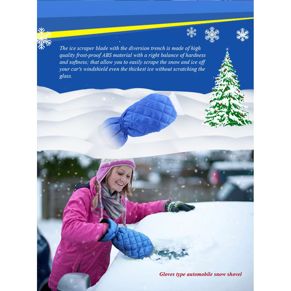 2 Pack, Blue Ice Scraper Mitt Windshield Snow Scrapers with Waterproof Snow Remover Glove Lined of Qualited Fleece for Car