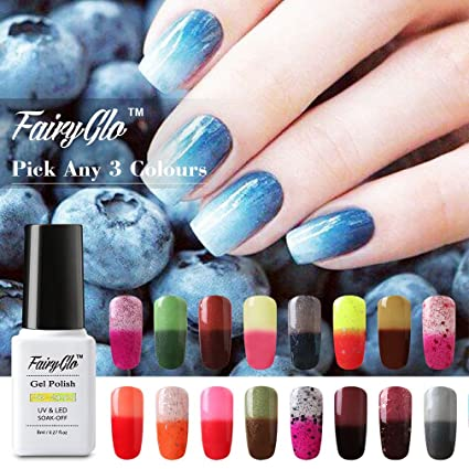 Fairy Glo Juego de esmaltes de uñas, de gel térmico, cambian de color con