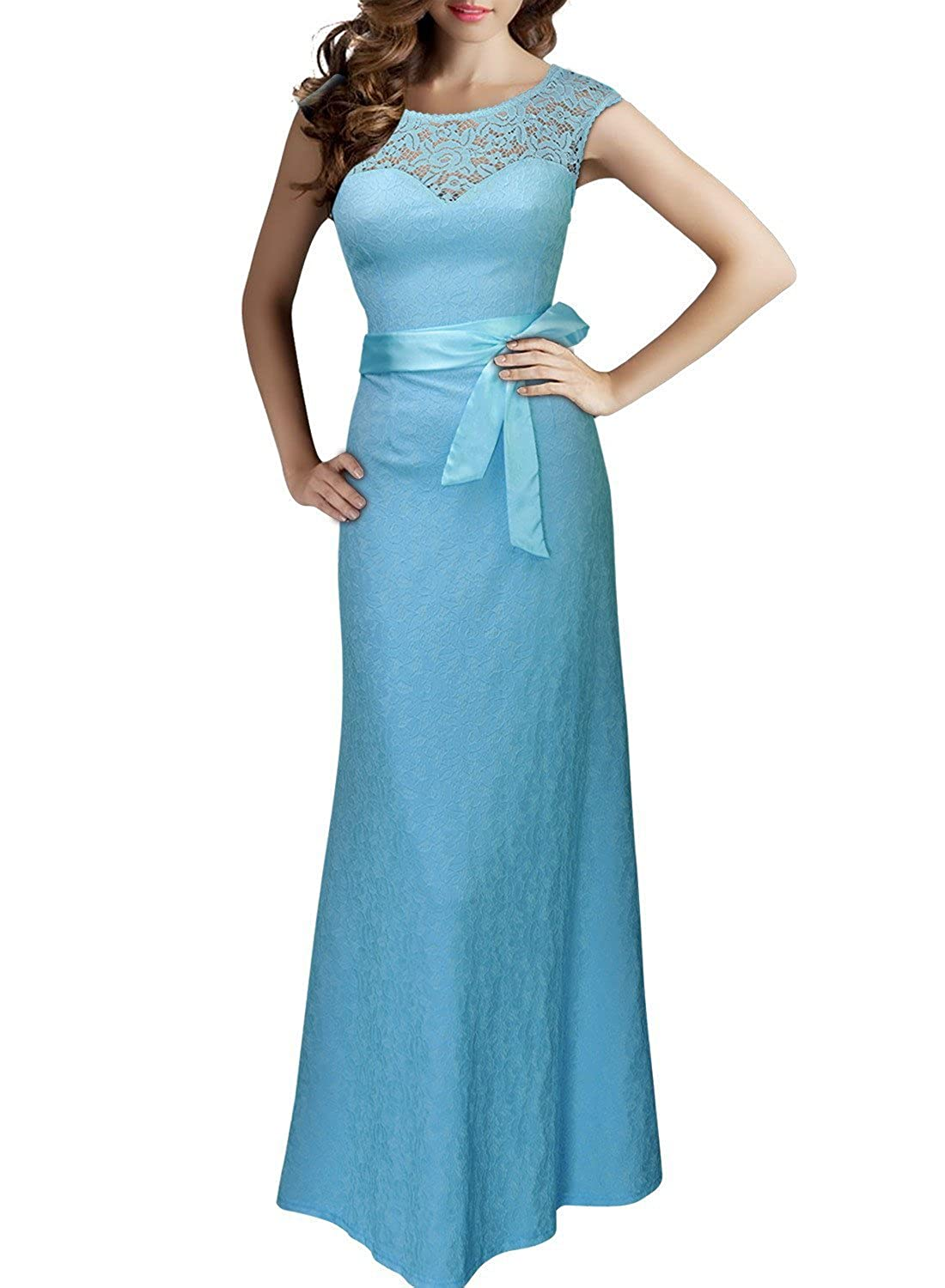 CaliaDress Women Elegant V Back Long Bridesmaid Dress Evening Gowns C264LF