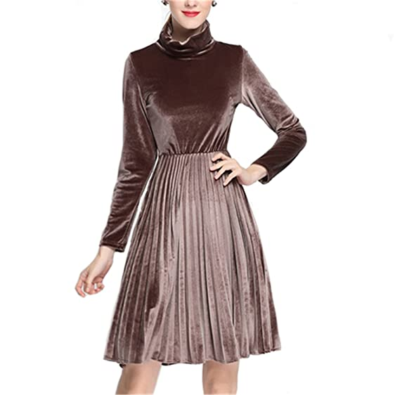 FDFAF Elegant Women Dress High-End Turtleneck Long Sleeve Velvet Dresses Vestidos Winter Ladies Slim