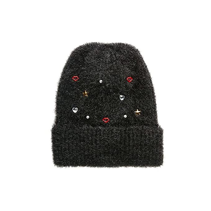 ae9ae47a7 Betsey Johnson Women's Kisses and Stars Fuzzy Beanie Hat, Black at ...