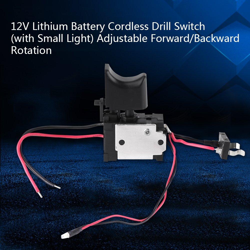 Taladro el/éctrico interruptor 12/V recargable de litio taladro inal/ámbrico disparador de control de velocidad Interruptor con peque/ña luz