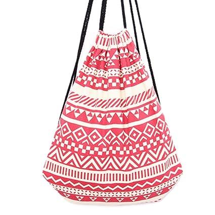 HITOP Bolsas de Cuerdas Mujer Mochilas Saco Tela Lona Patrones geométricos Bolsas Deporte Ocio Viaje