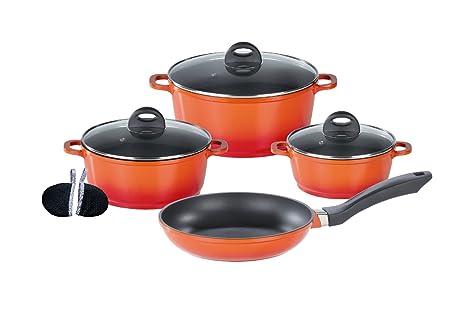 GSW Gourmet - Batería de cocina, 4 piezas, color naranja