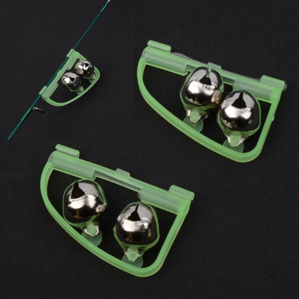 Pack of 15 Arched Luminous Fish Finder Glow Fishing Tackle Night Alarm Twin Bells Ring Fishing Bite Alarm Indicator Clip On Fishing Rod Tip